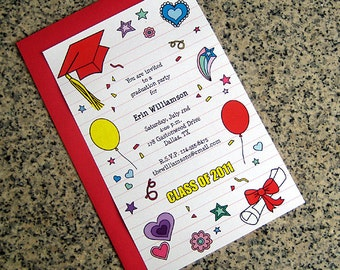 girlie doodles graduation invitation - you choose the custom colors and text, with envelopes - set of 10