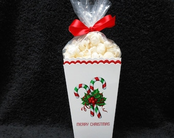 Christmas Popcorn Box - Candy Cane - Popcorn Box - Gift Box - Christmas Party Box - Party Favor Box - Set of 10