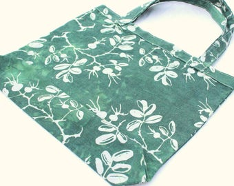 forest green organic grocery bag hand printed rosehip pattern