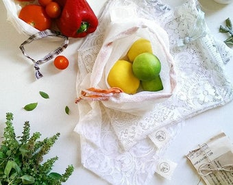 2 Packs of 4 x Reusable Produce Bags - Various Sized Bags
