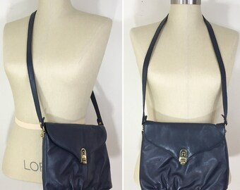 80s Etienne Aigner Navy Leather Crossbody Shoulder Bag Purse, Medium Size