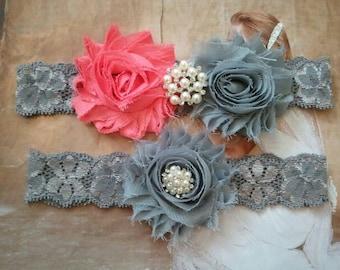 Wedding Garter, Bridal Garter, Garter - Coral /Silver Flowers on a Stretch Grey Lace with Pearls & Rhinestones - Style G20093