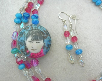 Long Necklace, Chinese Girl Focal Bead, Versatile Very Long Czech Glass Beaded Necklace, Matching Earrings, Set by SandraDesigns
