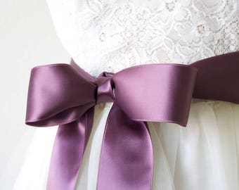 Purple Bridal Sash - Plum Sash, Purple Ribbon Belt, Satin Ribbon Belt, Violet Sash, Purple Wedding Sash, Bridesmaid Sash, Flower Girl Sash