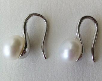 White Genuine Freshwater Pearl Earrings sterling Silver 7 mm bridal wedding jewelry June birthstone