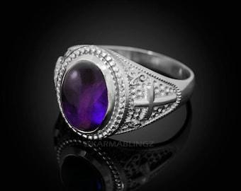 Sterling Silver Christian Cross Amethyst February Birthstone Ring