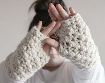 Chunky Fingerless Gloves Arm Warmers   THE WATERFORDS in Fisherman