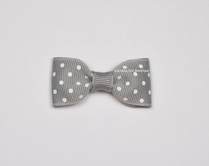 Millenium Silver Dots Baby Hair Bow ~ 2 in. Bow with No Slip Grip ~ Small Hair Bows Newborns Toddler Girls