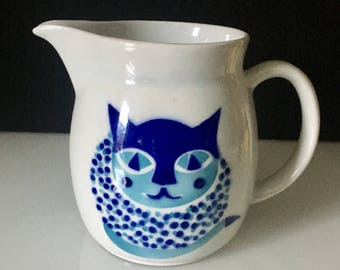 Arabia Finland MCM Blue Cat Pitcher Kaj Franck