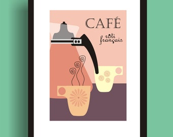 French Roast  -  Mid Century Modern Art Original Print  by C Wiedenheft comes with a white mat and ready to frame.