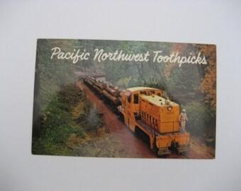 Pacific Northwest Toothpicks Postcard Logging Postcard Train Postcard Pacific Northwest Vintage Postcard Paper Ephemera Unused