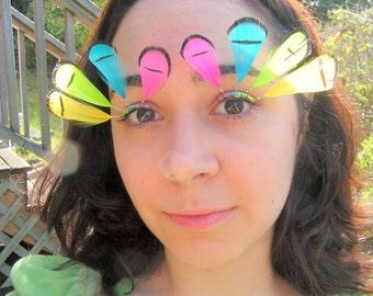 Neon Rainbow Feather Eyelash Jewelry - false eyelashes for burning man, raves, drag, burlesque