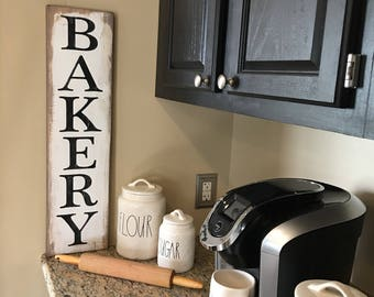 """Rustic Bakery sign 28"""" x 7.25"""" ,modern farmhouse, kitchen sign,"""