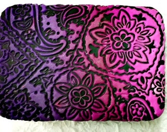 Sutton Slice Paisley Quilt Polymer Clay Covered Tin