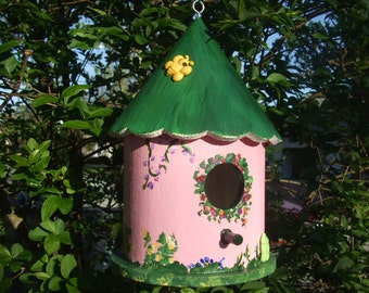 Handpainted Birdhouse - Pink - Large - Wooden