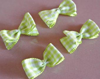 4 soft green gingham Ribbon bows, 35 mm x 15 mm