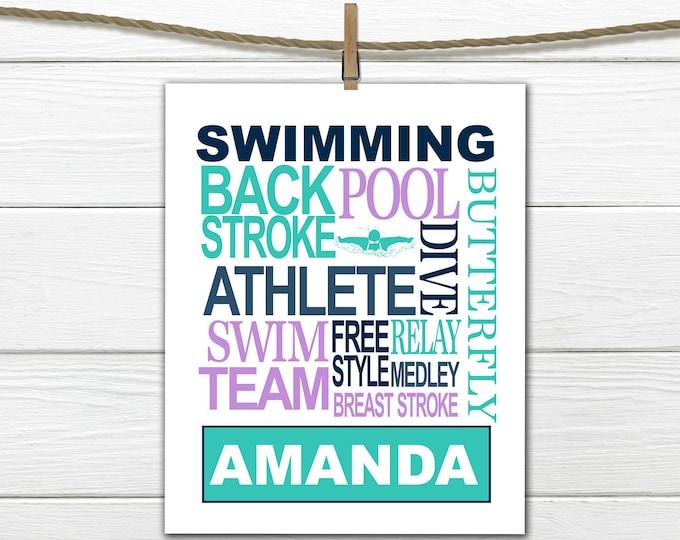 Swimmer Word Art Print - Custom Colors -  Swimming Print - Personalized  Female Swimmer