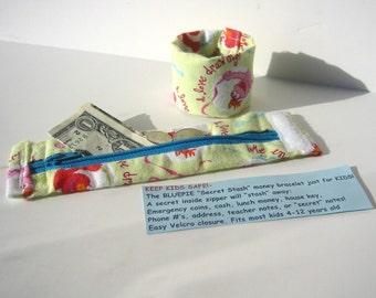 KIDS- Secret Stash Money Cuff- Sesame Street- hide your cash in a secret inside zipper