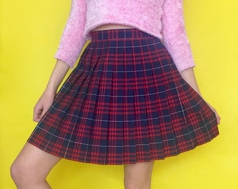 Vintage 90s Y2k 2000s Red and Blue High Waisted Pleated School Girl Skirt