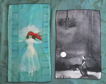 Make your own with my imagery, 2 chiffon pictures ... for sewing, gluing, artist fabric, textile art