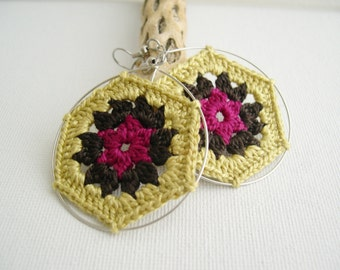 Granny Hexagon Crochet Earrings - Old Gold Dark Brown Fuchsia earrings - Retro Fashion colorful earrings - Girlfriend present - Boho chic