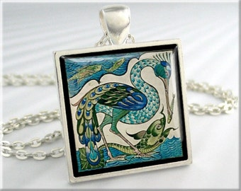 Walter Crane Heron Pendant,  Heron and Fish Art Necklace, Vintage Art Painting Charm, Square Silver, Green Turquoise Charm 677SS
