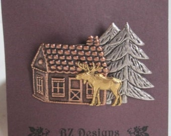 Up North Cabin with Moose and Tree Pin - a BZ Designs Original - Northwoods - Nature