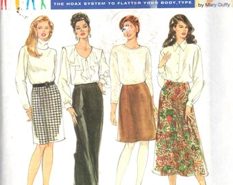 "Simplicity 9725, Sz 26-32W/Hips 50-56"". Plus Size Pencil/Flared/Aline Skirts, Mary Duffy Full Figure solutions pattern, 4 Skirts variations"