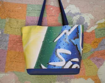 Tote bag made from an Sierra Mist banner