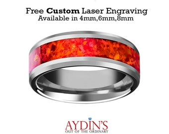 Tungsten Red Opal Ring Red Opal Inlay Tungsten Wedding Band Beveled Polished Finish 4mm,  6mm, 8mm Tungsten Wedding Ring