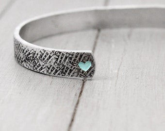 Aluminum Cuff, Textured Cuff, Hammered Cuff, Heart Bracelet, Custom Cuff Bracelet, Personalized Jewelry, Handstamped Cuff