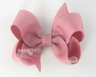 Mauve Hair Bow - Baby Toddler Girl - Solid Color Dusty Rose Pink 3 Inch Boutique Bow on Alligator Clip Barrette