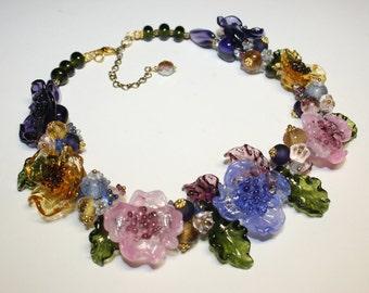 Handmade lampwork necklace, glass flower necklace, glass necklace, glass floral necklace, short necklace, lampwork flower necklace