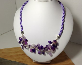 Hand crafted multi-gem kumihimo necklace.