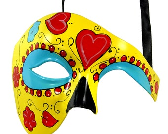 Day of the Dead Yellow Masquerade Mask