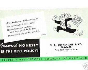 Vintage Advertising Ink Blotter MARYLAND INSURANCE Bank Fidelity Deposit Green