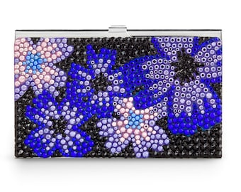 Midnight Bloom Elegant Business Card Case Encrusted With Swarovski Crystals