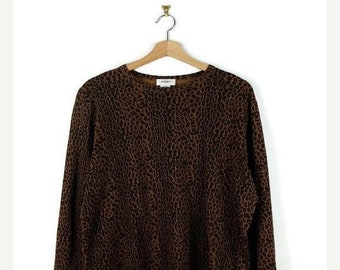 ON SALE Leopard Printed Long Sleeve Cotton T-shirt From 90's