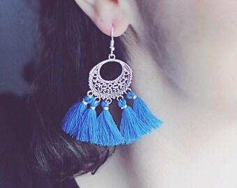 Electric blue tassels Bohemian Silver earrings
