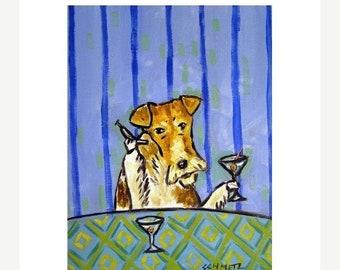 25% off Fox Terrier Having a Martini Dog Art Print