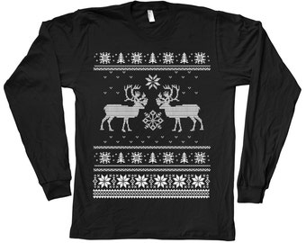 Mens Christmas Ugly Sweater Tshirt Hand Screen Print American Apparel Crew Neck Long Sleeve tshirt