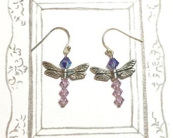 Swarovski Crystal Dragonfly Earrings, Dragonfly Earrings, Elegant Earrings, Colorful Earrings, Birthday Gift, Christmas Gift