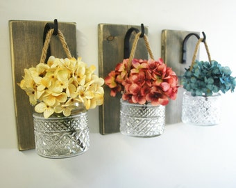 Jar wall decor, Country style, shabby chic decor, Kitchen decor, Home decor, Rope handle,Fixer Upper style, crystal jar, Joanna Gaines style