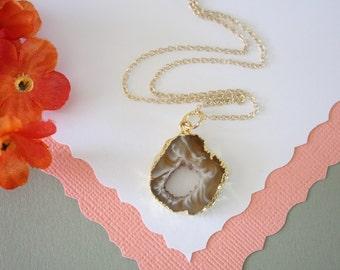 Geode Necklace, Druzy Necklace Gold, BoHo Necklace, Crystal Necklace, Geode Slice, Gold Slice Druzy,GCH41