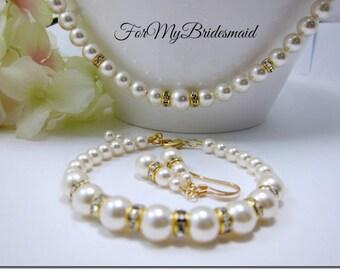 Bridal Jewellery Set, Pearl and Rhinestone Wedding Jewellery set, Bridal Bracelet Set, Bridal Earrings Set, Bridal Ivory White Gold jewelry