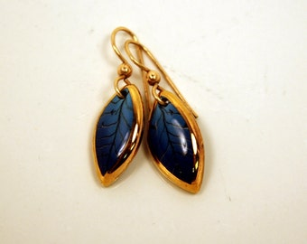 Blue Leaf Earrings, Ceramic, Handmade, Blue and Gold, Dangles, Leaves, Blue, Fall, Autumn, Lightweight, Free US Shipping