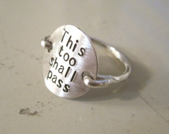 Sterling silver Ring stamped monogram jewelry, this too shall pass, engraved ring, inspirational ring, custom ring