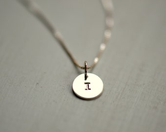 Stamped Initial Disc Necklace Silver Letter I Vintage Disk Wedding Jewelry