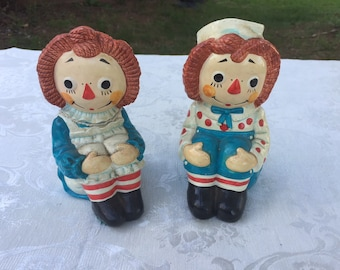 Vintage Raggedy Ann and Andy Bookends/1970 The Bobbs-Merrill Company