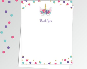 "Unicorn Thank You Cards - Printable Thank You Notes - Birthday Thank You Notes - 4x5"" Flat Card - Printable Card - Unicorn Birthday Thanks"